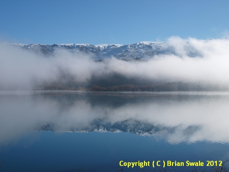 Photograph of Lake Dunstan in fog; Central Otago, New Zealand.