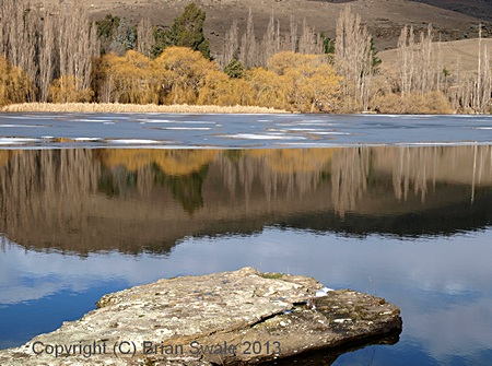 Photograph of Butchers Dam in winter; Central Otago, New Zealand.