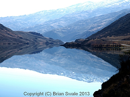 Photograph of Lake Dunstan reflections; Central Otago, New Zealand.